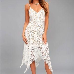 One wish Lulus white lace dress XS